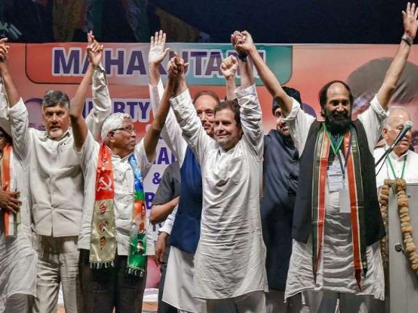 Congress-led People Front Praja Kutami submit a representation of pre-poll alliance of four parties