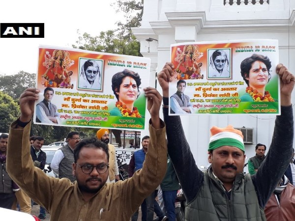 Congress workers celebrated on priyanka gandhi being General Secretery of UP East