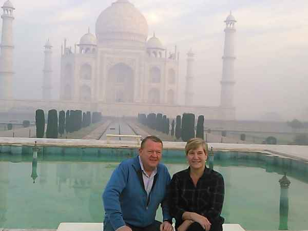 Agra: Prime Minister of Denmark Lars Løkke Rasmussen and his wife visit the Taj Mahal