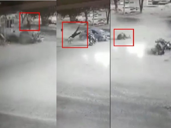 VIDEO: तेज रफ्तार कार ने बाइक को मारी टक्कर, 15 फीट हवा में उड़ा शख्स