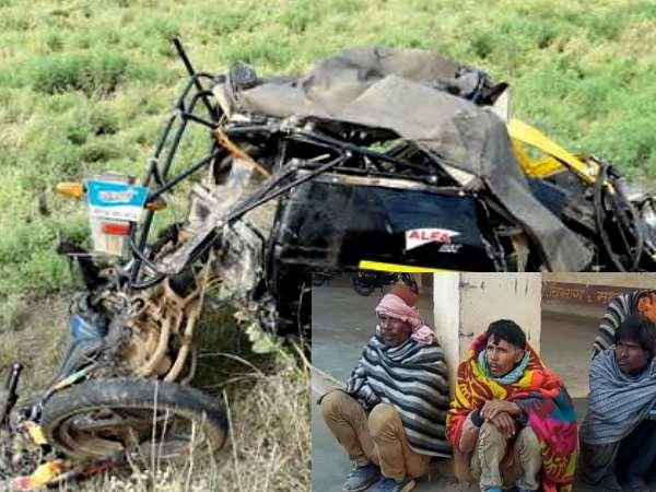 डम्पर की टक्कर से 20 फीट दूर जा गिरी टैक्सी, 6 लोगों की मौत, 5 एक ही परिवार के
