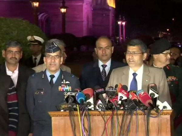 Joint press briefing by Army, Navy and Air Force at South Block in delhi