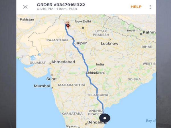 चेन्नई से ऑर्डर किया खाना तो राजस्थान से आती दिखी डिलीवरी, सोशल मीडिया पर स्क्रीनशॉट वायरल