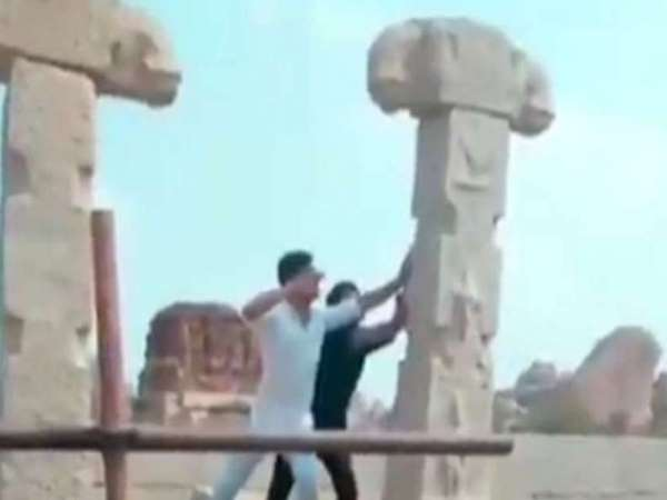 four Men Who Damaged Hampi Ruins Made To Re-Erect Pillars by a local court, says in Report
