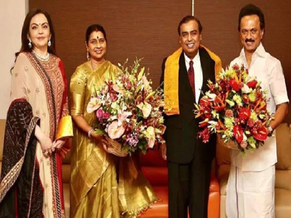 mukesh Ambani invites DMK chief MK Stalin for Sons Wedding