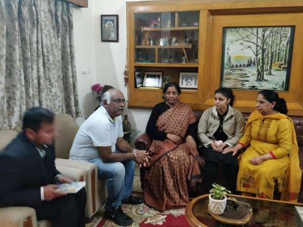 Nirmala Sitharaman met family of Squadron Leader Samir Abrol, who lost his life in the Mirage 2000 crash