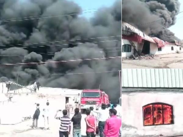 ग्रेटर नोएडा: थर्माकोल फैक्ट्री में लगी भीषण आग, दमकल की कई गाड़ियां मौके पर