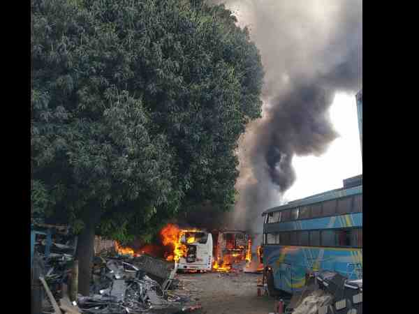 ten buses gutted in fire at satara road