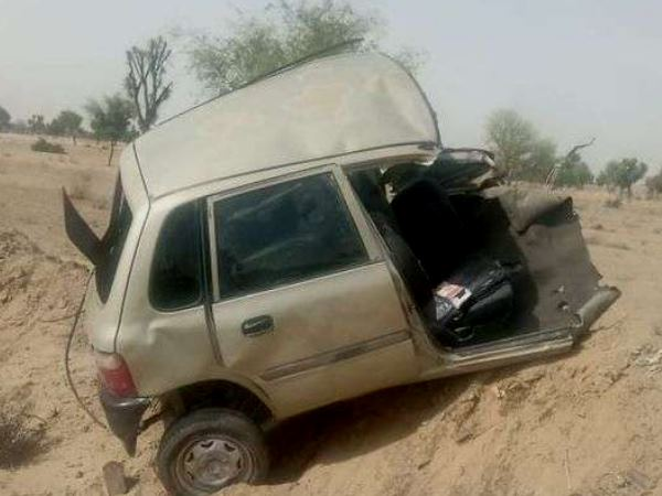 Car divided in two parts after accident in Chainpura village of churu