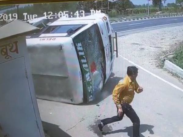 road accident caught on cctv camera