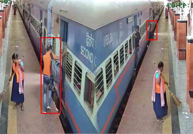 cctv shows how cop saves man from being crushed under the train