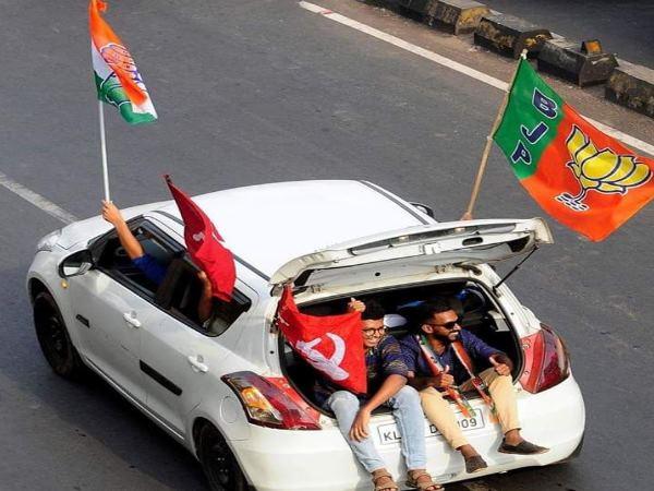 आगे से देखा तो कांग्रेस के समर्थक आ रहे थे, पीछे देखा तो BJP-CPM का भी झंडा लहरा रहे थे