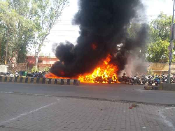 30 bikes torched in fire outside EVM distribution centre