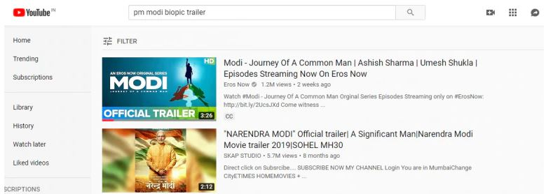PM Narendra Modi biopic trailer and songs goes missing from youtube