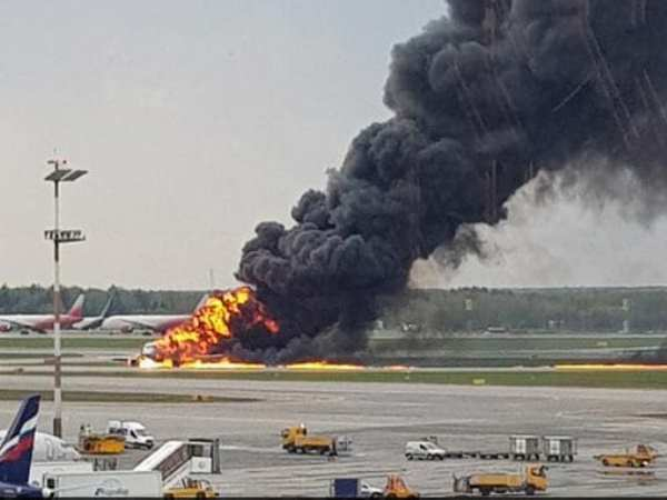russia Passenger Plane On Fire Makes Emergency Landing In Moscow