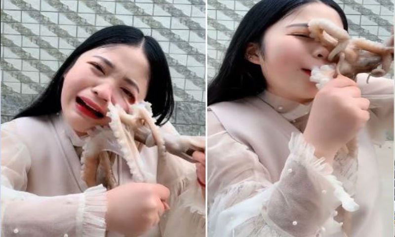 Video: What Happen When Girl was Trying to eat Live Octopus in China