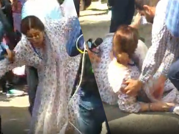 VIDEO: वोट डालने आईं बीजेपी उम्मीदवार किरण खेर का फिसला पैर, पोलिंग बूथ पर गिरी
