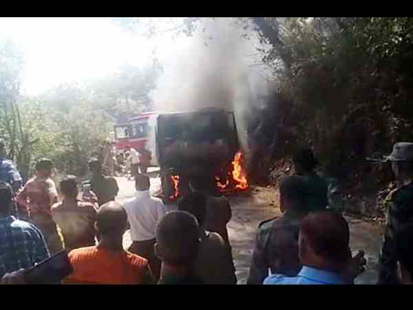 truck carrying eight soldiers caught fire