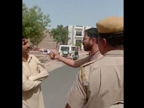 A Man Wants to Shoot JVVNL vigilance Team in front of rajasthan Police, Pistol Video Viral