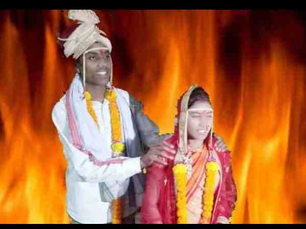 inter-caste marriage couple set on fire by brides family