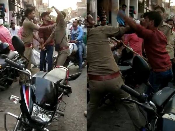 dial 100 policeman beats constable in sultanpur
