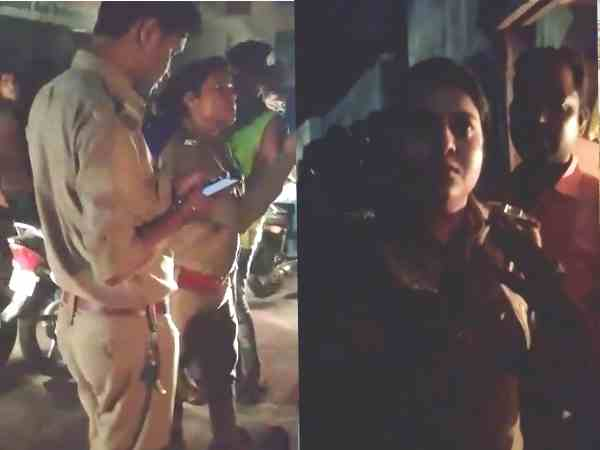 woman constable slapped a man on road