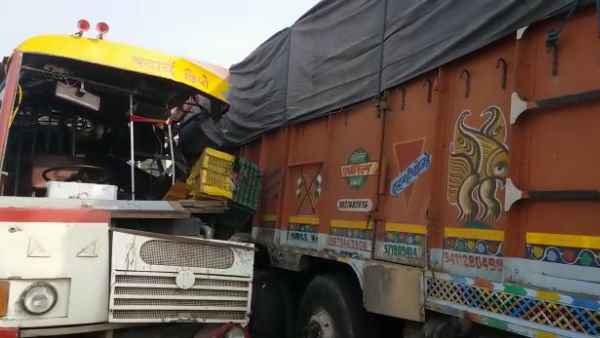 Roadways bus collided with a standing truck in Bulandshahr