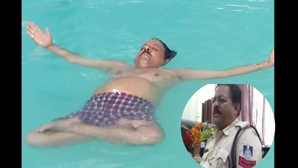 Damoh police constable Bhagwan Das performs yoga in water