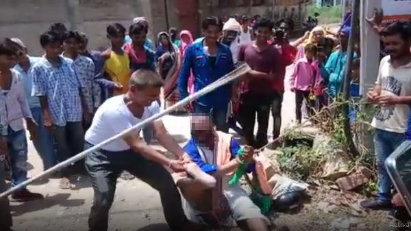 man tied to and beaten by mob in Kota Rajasthan