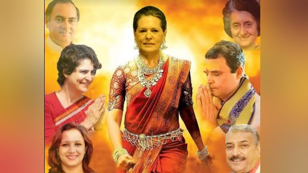 sonia gandhi projected as rani lakshmi bai in poster