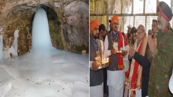 <strong>अमरनाथ यात्रा: बाबा बर्फानी के प्रथम पूजा में शामिल हुए गवर्नर सत्य पाल मलिक</strong>