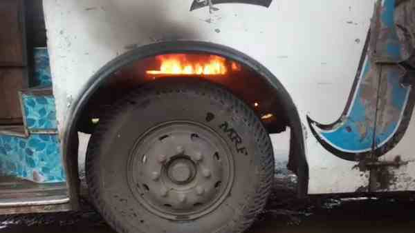 bus carrying passengers caught fire