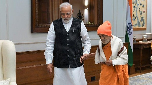 pm Narendra Modi met Sri Vishvesha Teertha Swamiji of the Pejawara Matha