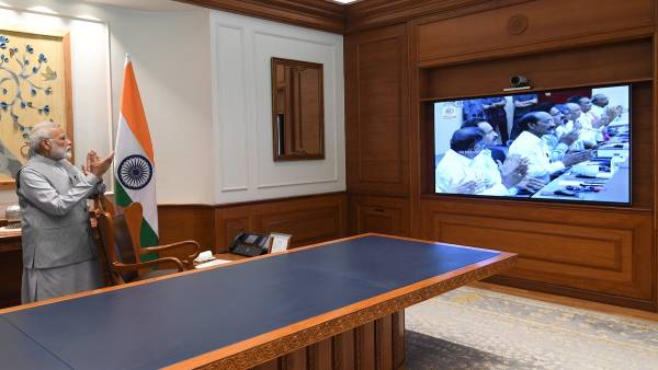 Narendra Modi watched live telecast of Chandrayaan 2 launched by ISRO