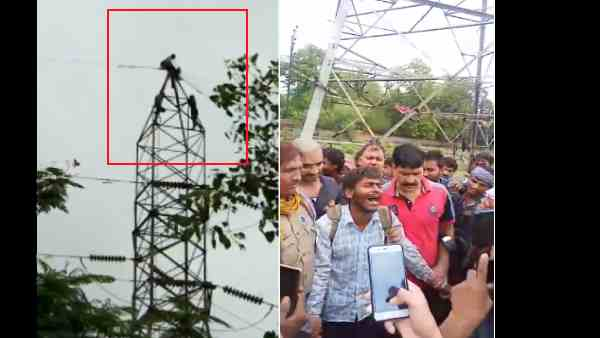 man climbs on the hightension electricity pole
