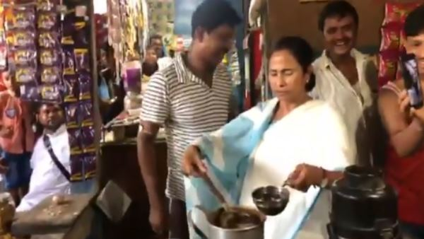 mamata banerjee in digha seen making tea for people, video viral