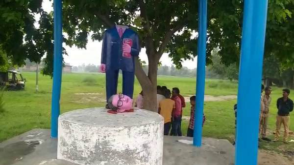 ambedkar statue vandalised at two places in azamgarh