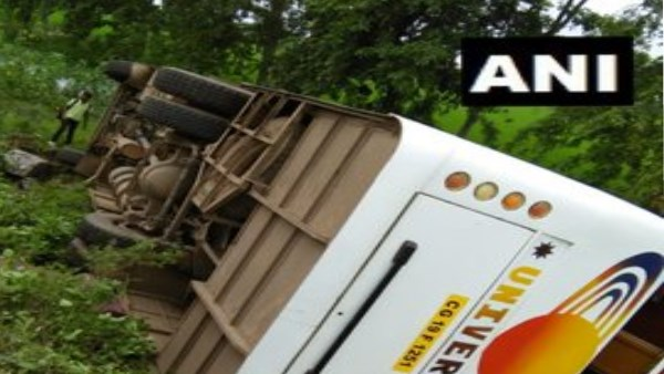 bus rolled over on National Highway near Kurud in Chhattisgarh