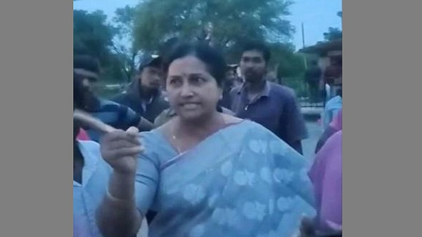 YSRCP MLA Samineni Udaya Bhanu wife threatened police officer