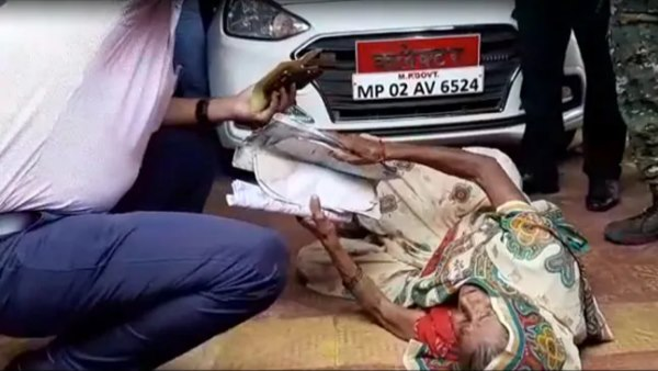 80 year Old woman lying Front of Chhatarpur Collector Car