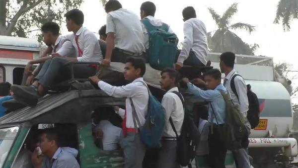 school students journey on overload auto