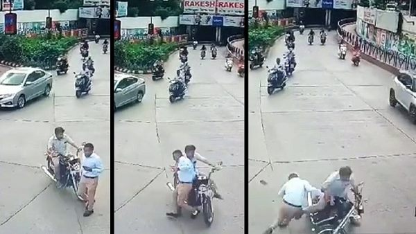 biker hits the crime-branch PSI in rajkot, video goes to viral