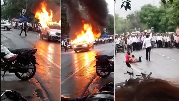 Mathura: man Set Fire To his Car And Firing on the road, Video Goes Viral
