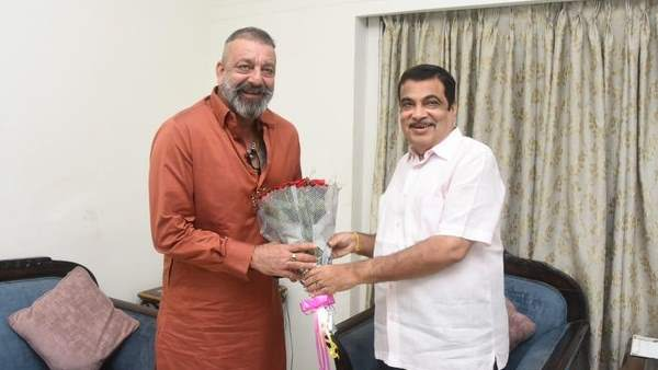 Actor Sanjay Dutt meets Union Minister of Road Transport & Highways Nitin Gadkari in Nagpur