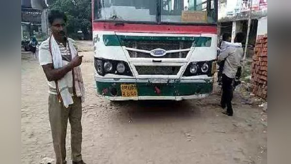 Traffic police issued challan for not wearing helmet by up roadways bus driver
