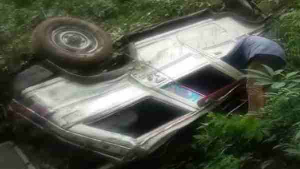 a Vehicle collapsed in deep ditch in Chamoli