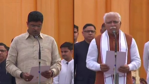 Dushyant Chautala takes oath as the Deputy Chief Minister of Haryana, at the Raj Bhawan