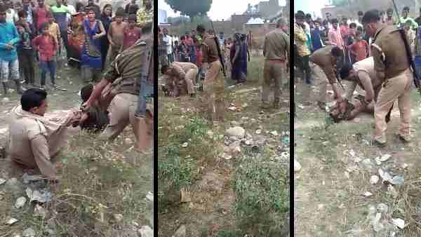 home guard jawan beatenup by a young man in Kannauj
