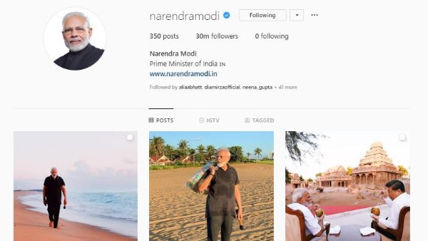 PM narendra Modi crosses 30 million follower on Instagram, becomes most followed world leader