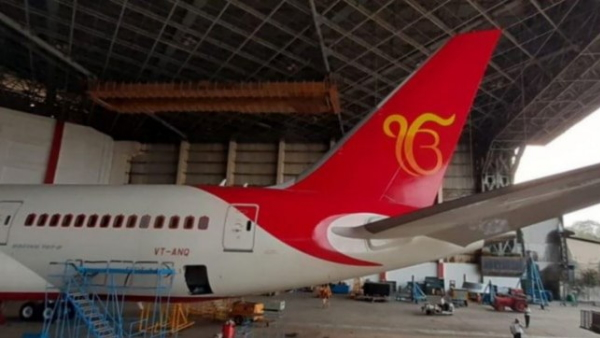Gurunank dev 550 prakash parv Air India made Ek Onkar symbol on the aircraft